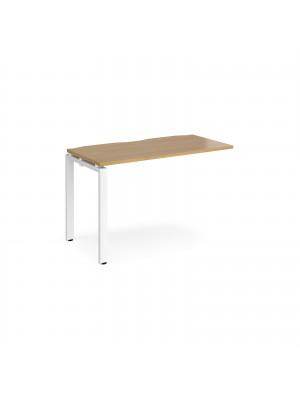 Adapt add on unit single 1200mm x 600mm - white frame, oak top