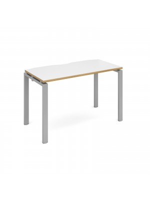 Adapt starter unit single 1200mm x 600mm - silver frame, white top with oak edging