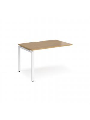 Adapt add on unit single 1200mm x 800mm - white frame, oak top