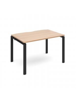 Adapt single desk 1200mm x 800mm - black frame, beech top
