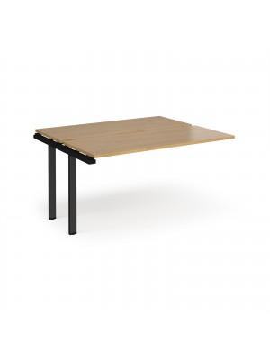 Adapt add on unit single 1400mm x 1200mm - black frame, oak top