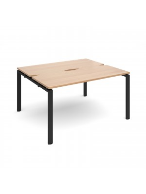 Adapt II back to back desks 1400mm x 1200mm - black frame, beech top