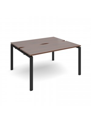 Adapt II back to back desks 1400mm x 1200mm - black frame, walnut top