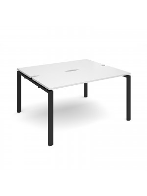 Adapt II back to back desks 1400mm x 1200mm - black frame, white top