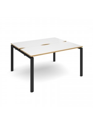 Adapt II back to back desks 1400mm x 1200mm - black frame, white top with oak edging