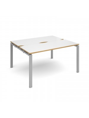 Adapt II back to back desks 1400mm x 1200mm - silver frame, white top with oak edging