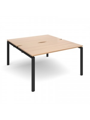 Adapt II back to back desks 1400mm x 1600mm - black frame, beech top