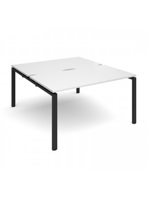 Adapt II back to back desks 1400mm x 1600mm - black frame, white top