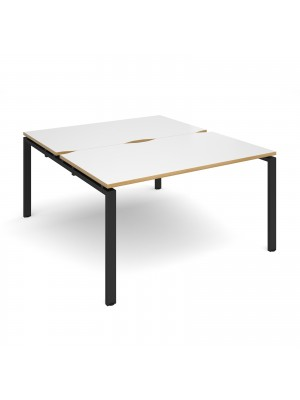 Adapt II back to back desks 1400mm x 1600mm - black frame, white top with oak edging