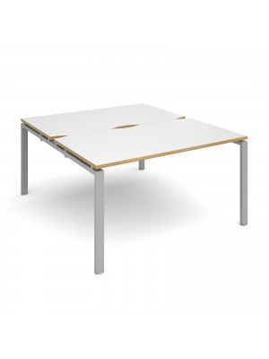 Adapt II back to back desks 1400mm x 1600mm - silver frame, white top with oak edging