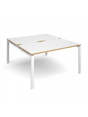 Adapt II back to back desks 1400mm x 1600mm - white frame, white top with oak edging