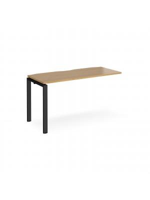 Adapt add on unit single 1400mm x 600mm - black frame, oak top