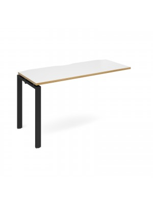 Adapt add on unit single 1400mm x 600mm - black frame, white top with oak edging