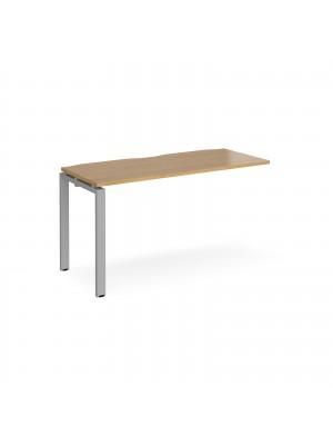 Adapt add on unit single 1400mm x 600mm - silver frame, oak top