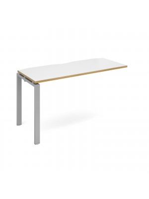 Adapt add on unit single 1400mm x 600mm - silver frame, white top with oak edging