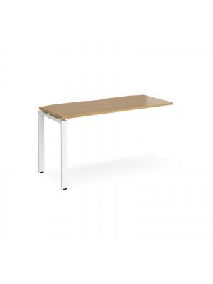 Adapt add on unit single 1400mm x 600mm - white frame, oak top