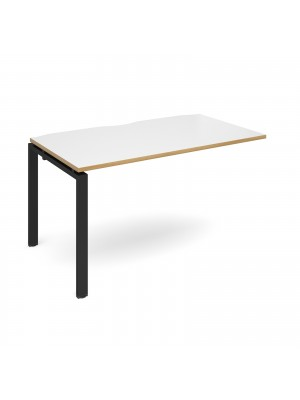 Adapt add on unit single 1400mm x 800mm - black frame, white top with oak edging