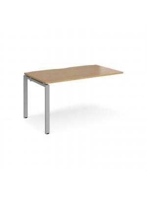Adapt add on unit single 1400mm x 800mm - silver frame, oak top
