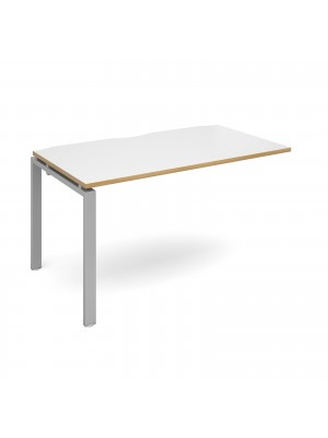 Adapt add on unit single 1400mm x 800mm - silver frame, white top with oak edging