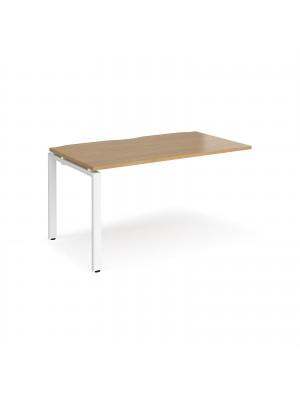 Adapt add on unit single 1400mm x 800mm - white frame, oak top