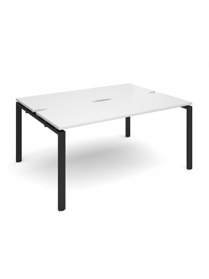 Adapt II back to back desks 1600mm x 1200mm - black frame, white top