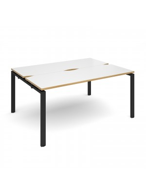 Adapt II back to back desks 1600mm x 1200mm - black frame, white top with oak edging