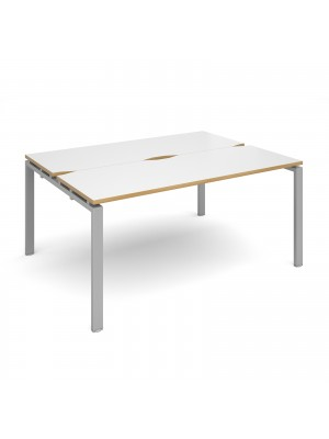 Adapt II back to back desks 1600mm x 1200mm - silver frame, white top with oak edging
