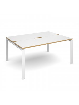 Adapt II back to back desks 1600mm x 1200mm - white frame, white top with oak edging