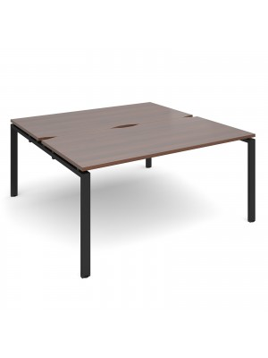 Adapt II back to back desks 1600mm x 1600mm - black frame, walnut top