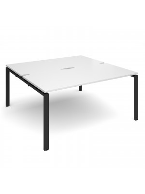 Adapt II back to back desks 1600mm x 1600mm - black frame, white top