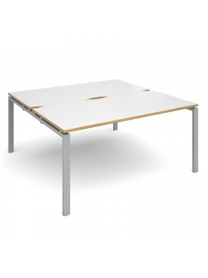 Adapt II back to back desks 1600mm x 1600mm - silver frame, white top with oak edging