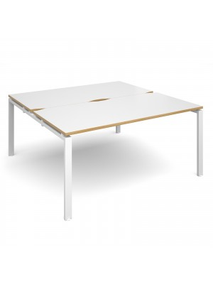 Adapt II back to back desks 1600mm x 1600mm - white frame, white top with oak edging