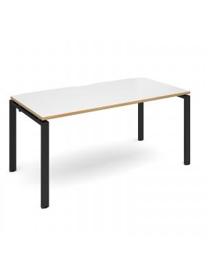 Adapt II starter unit single 1600mm x 800mm - black frame, white top with oak edging