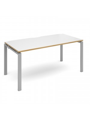 Adapt II starter unit single 1600mm x 800mm - silver frame, white top with oak edging