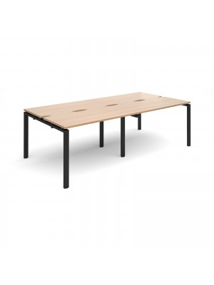 Adapt II double back to back desks 2400mm x 1200mm - black frame, beech top