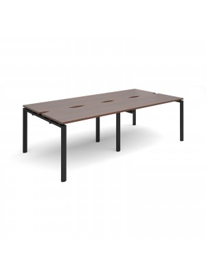 Adapt II double back to back desks 2400mm x 1200mm - black frame, walnut top