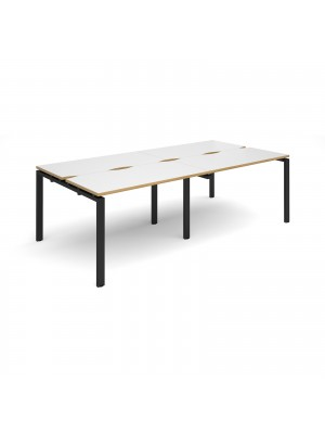 Adapt II double back to back desks 2400mm x 1200mm - black frame, white top with oak edging