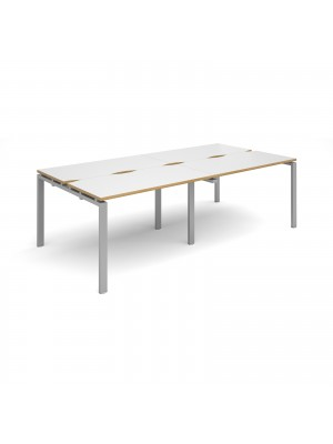 Adapt II double back to back desks 2400mm x 1200mm - silver frame, white top with oak edging