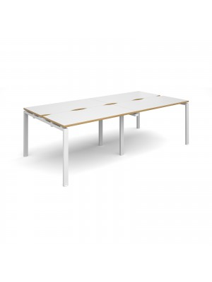 Adapt II double back to back desks 2400mm x 1200mm - white frame, white top with oak edging