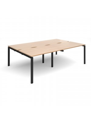 Adapt II double back to back desks 2400mm x 1600mm - black frame, beech top