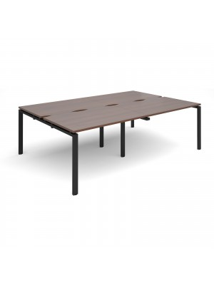 Adapt II double back to back desks 2400mm x 1600mm - black frame, walnut top