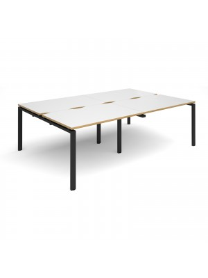 Adapt II double back to back desks 2400mm x 1600mm - black frame, white top with oak edging