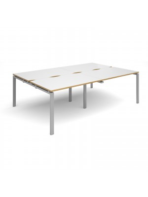 Adapt II double back to back desks 2400mm x 1600mm - silver frame, white top with oak edging