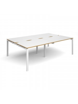 Adapt II double back to back desks 2400mm x 1600mm - white frame, white top with oak edging