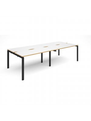 Adapt II double back to back desks 2800mm x 1200mm - black frame, white top with oak edging