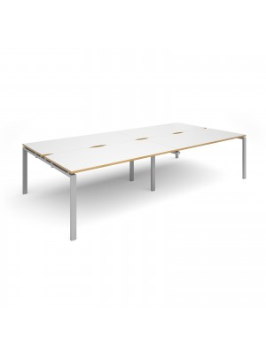 Adapt double back to back desks 3200mm x 1600mm - silver frame, white top with oak edging