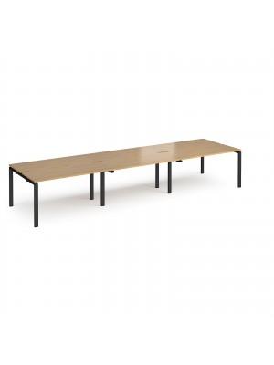 Adapt triple back to back desks 4200mm x 1200mm - black frame, oak top