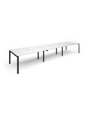 Adapt triple back to back desks 4800mm x 1200mm - black frame, white top