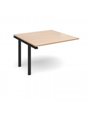 Adapt II boardroom table add on unit 1200mm x 1200mm - black frame, beech top