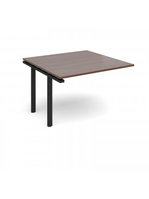 Adapt II boardroom table add on unit 1200mm x 1200mm - black frame, walnut top